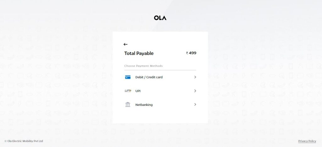 ola electric scooter booking step 6